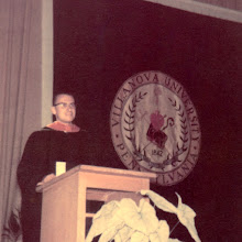 Photo: Robert F. Wagner presenting his commencement oration at Villanova University graduation ceremony, 1959.
