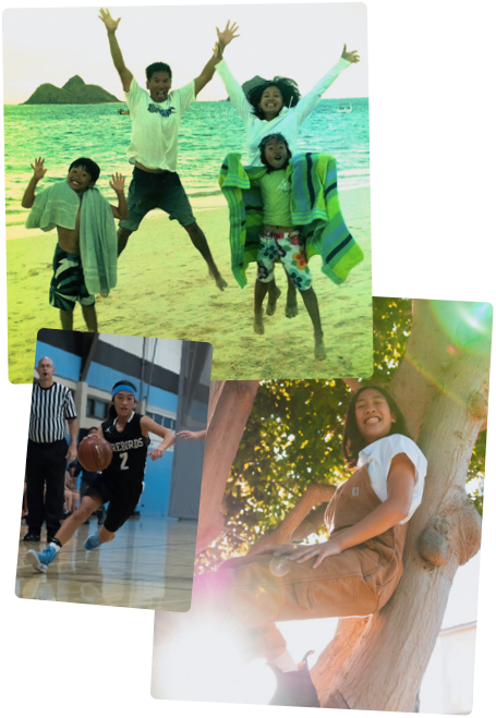 Visual collage featuring Kimberly growing up. From left to right: Kimberly's school portrait from childhood, Kimberly at the  beach with her family, Kimberly climbing a tree, Kimberly working on a laptop in bed, Kimberly playing basketball.