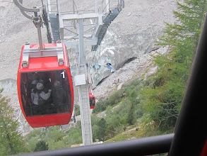 Photo: At the end of the railway line, a cable car takes visitors down to the glacier itself--almost.