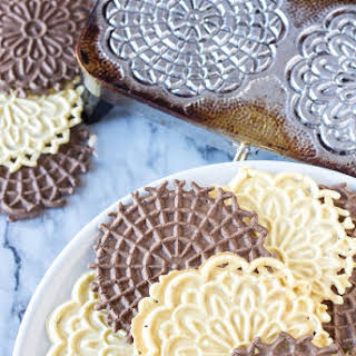 Vanilla and Chocolate Pizzelles.