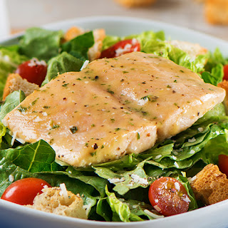 Simply Bake Salmon Caesar Salad with Homemade Dressing