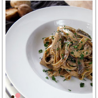 Homemade Porcini Fettuccini with Creamy Wild Mushroom Sauce.