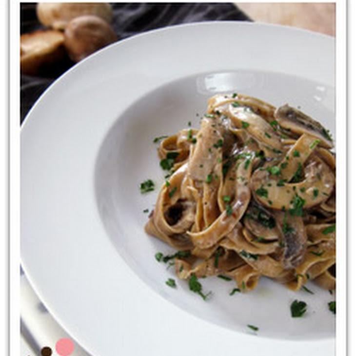 Homemade Porcini Fettuccini with Creamy Wild Mushroom Sauce Recipe