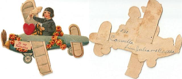 antique vintage old valentine grandma's airplane plane boy heart sweet
