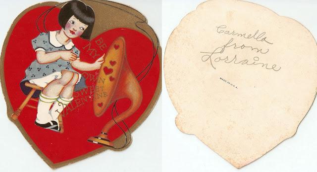 antique vintage old valentine grandma's girl speaker phonograph music heart sweet