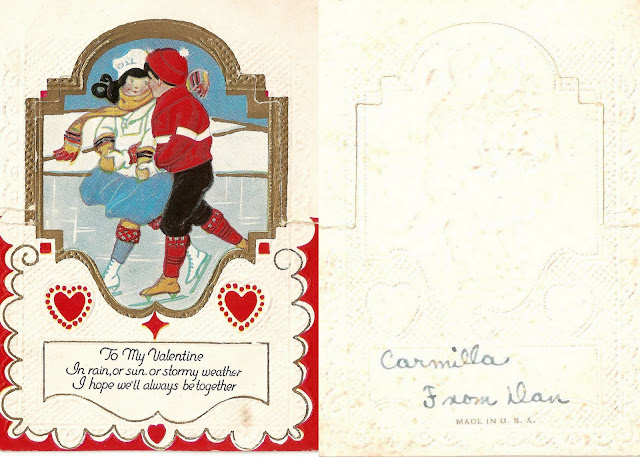 antique vintage valentine children boy girl ice skating sweet lovely old