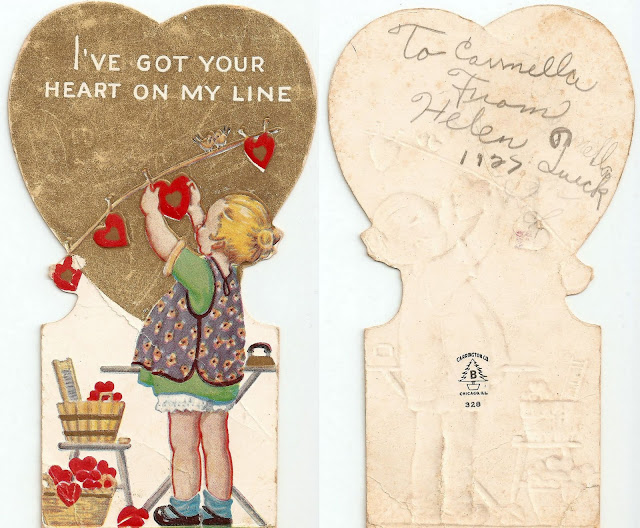 antique vintage valentine girl hangin hearts on clothesline sweet lovely old