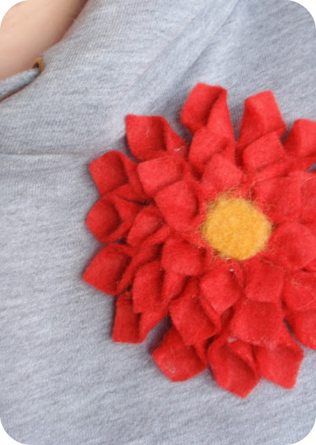 handmade felt dahlia pin