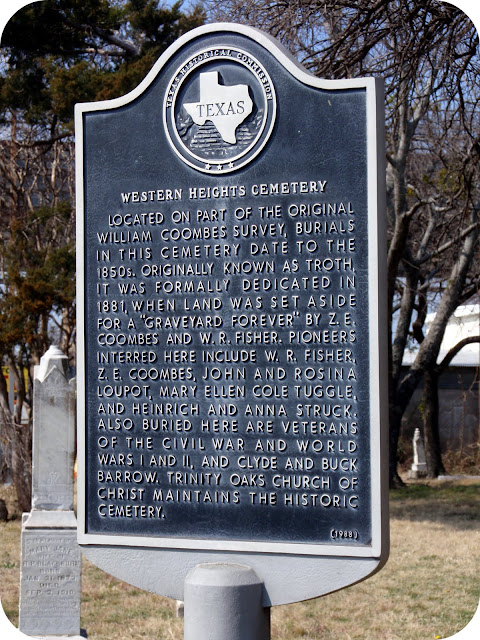 Western Heights Cemetery Historical Marker Dallas