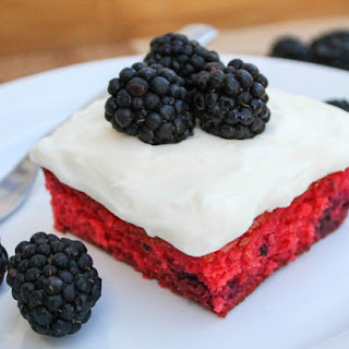 Blackberry Cake with Coconut Cream Cheese Frosting.