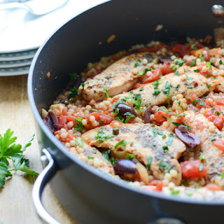 Chicken Puttanesca with Israeli Couscous