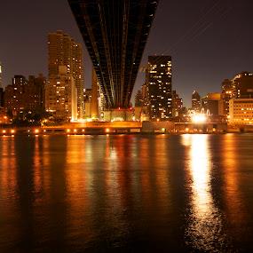 Under the 59th Street Bridge by Stevenson Martin - City,  Street & Park  Vistas ( city, night )