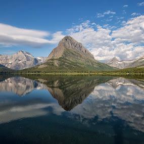 Many Glacier Lake by Samuel Burns - Landscapes Mountains & Hills (  )