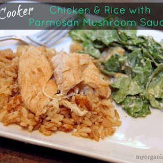 Slow Cooker Chicken and Rice with Parmesan Mushroom Sauce.