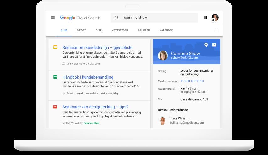 Søk i alle Google Workspace -produktene