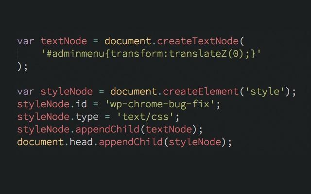 Wordpress Chrome Bug Fix