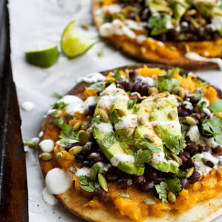 Pita Tostadas with Butternut Squash, Black Beans, & Avocado