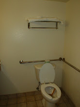 Photo: Well, that's a room ready for handicapped. But how are they supposed to get the towels from up there?