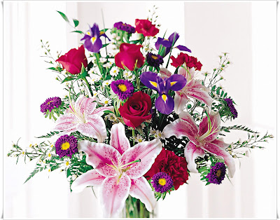 Stunning Beauty Bouquet - Roses, Iris, Stargazer Lilies, Carnations, Asters