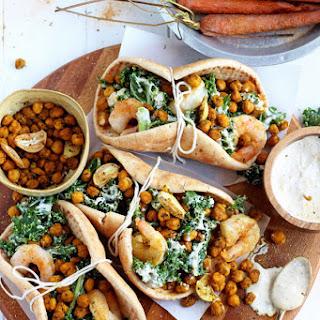 Roasted Chickpea and Garlic Caesar Salad Pitas Recipe