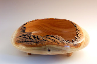 "Photo: Doug Bartos -- Ash Footed Natural Edge Bowl -- 5.5"" X 13"" -- $]375"