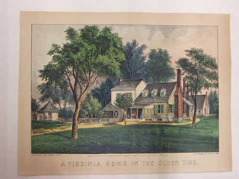 old print of a house among trees