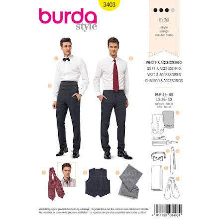 Burda 3403, slips, fluga, kummerband, sjal och väst