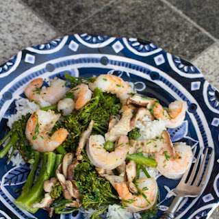 Roasted Shrimp with Mushrooms, Broccolini, and Foaming Chive Butter Sauce.