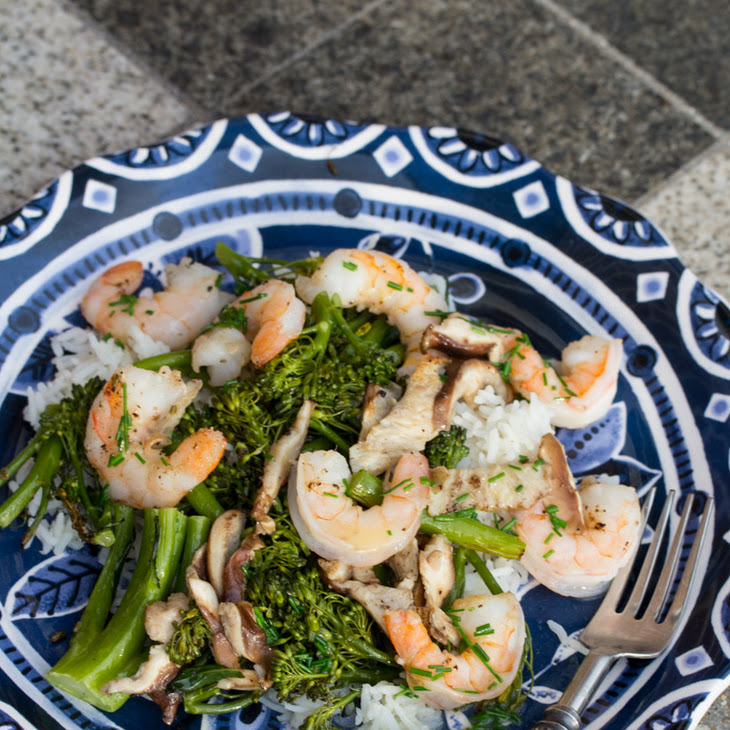 Roasted Shrimp with Mushrooms, Broccolini, and Foaming Chive Butter Sauce Recipe