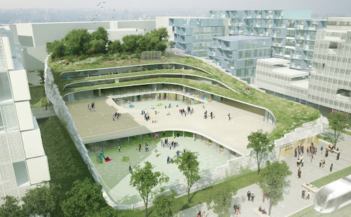 Former Renault Factory In France Becomes An Undulating Green-Roofed School