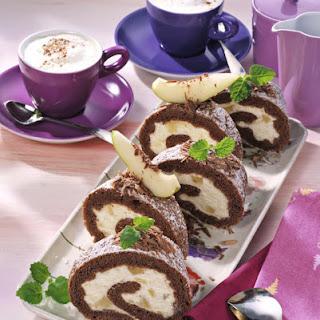 Chocolate Swiss Roll With Cream Pears.