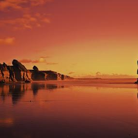 Stand Alone by Jomy Jose - Landscapes Beaches ( new plymouth, rocks, new zealand, three sisters beach, taranaki,  )
