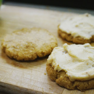 Flourless Peanut Butter Cookies with Fig Mascarpone Frosting