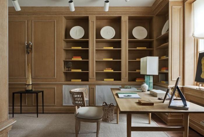 home office design inspiration built in wood shelving cabinets large desk natural light