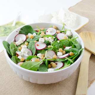 Spinach Salad with Spicy Chickpeas, Feta and Herb Dressing