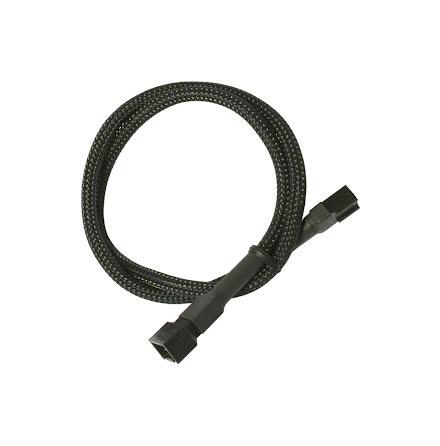 Forlenger, 3 pins vifte, kabelstrømpe, 30 cm, sort