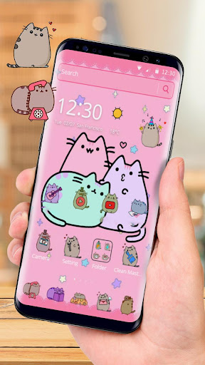 Pusheen Cat Lovely Pink Theme download 1
