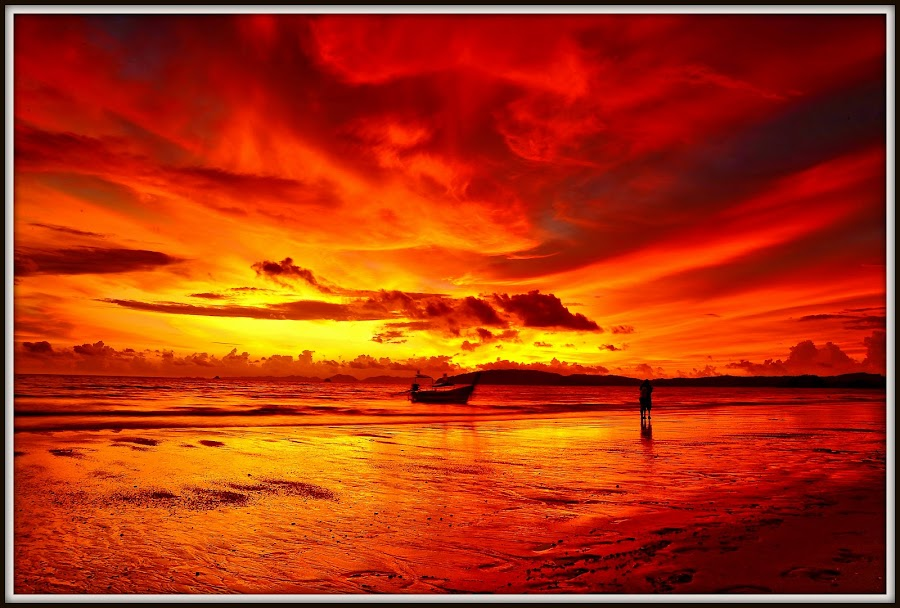 A lovely couple with the red sunset. by Wong Meng - Landscapes Sunsets & Sunrises ( couple. )