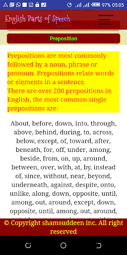 English Parts of Speech with Examples screenshot 4