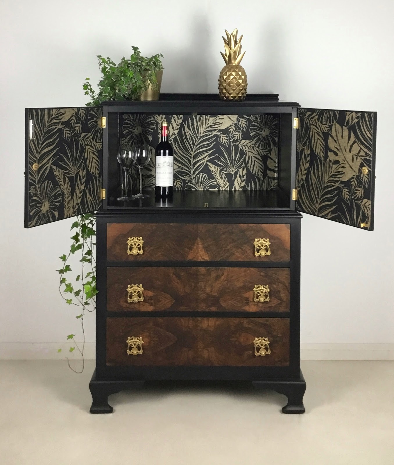 Vintage burr walnut veneer drinks cabinet