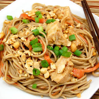 Spicy Soba Noodles with Chicken in Peanut Sauce.