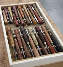 Photo: Michael Blake - set of miniature hand tools with turned handles -- note the 8-sided ends. [0708]