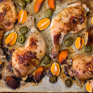 Roasted Chicken with Tangerines and Olives.