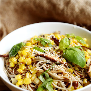 Spicy Soba Noodles with Corn and Shiitake Mushrooms.