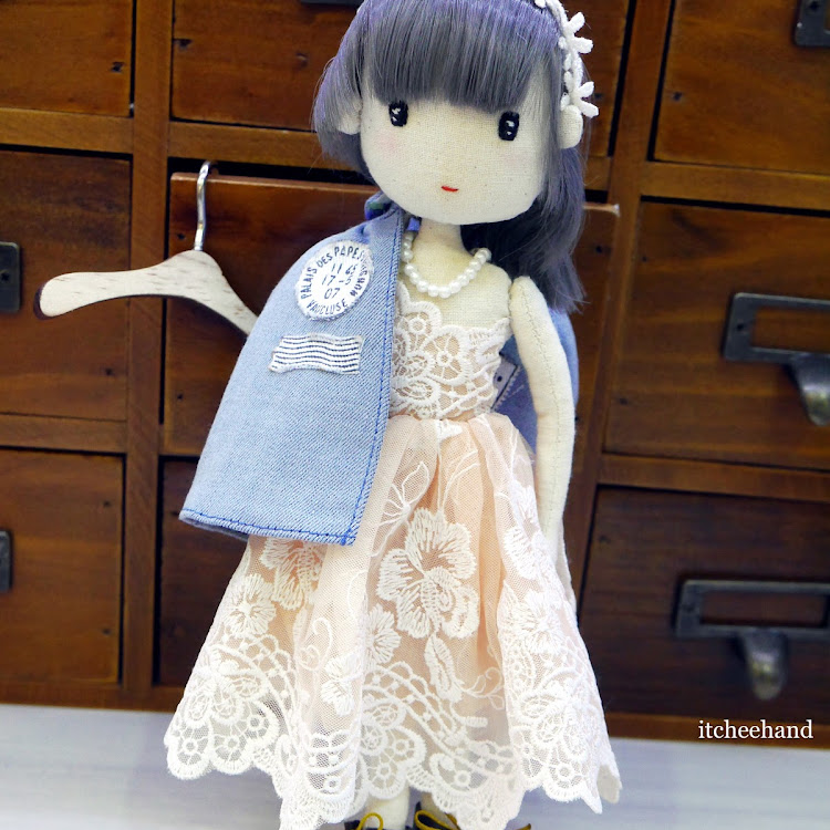 Handmade Doll -Cool Girl with lace dress & denim coat by Itcheehand Enterprise