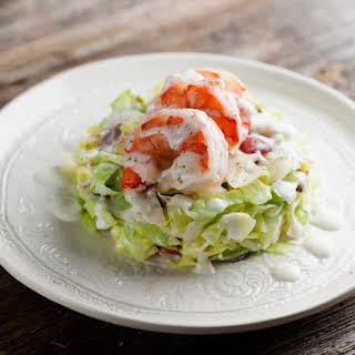 Pressed Wedge Salad with Shrimp.