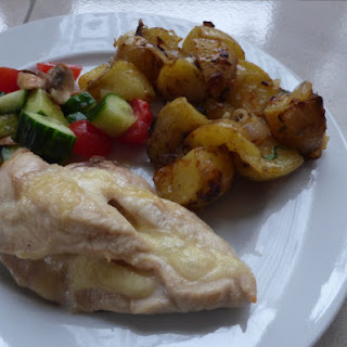 Cheese Stuffed Chicken Breast with Tarragon Fried Potatoes