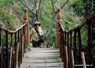 Photo: Steve preparing to cross the footbridge at Puerto Vallarta Botanical Gardens