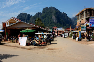 Photo: Day 303 - Street in Vang Vieng and Mountainous Backdrop