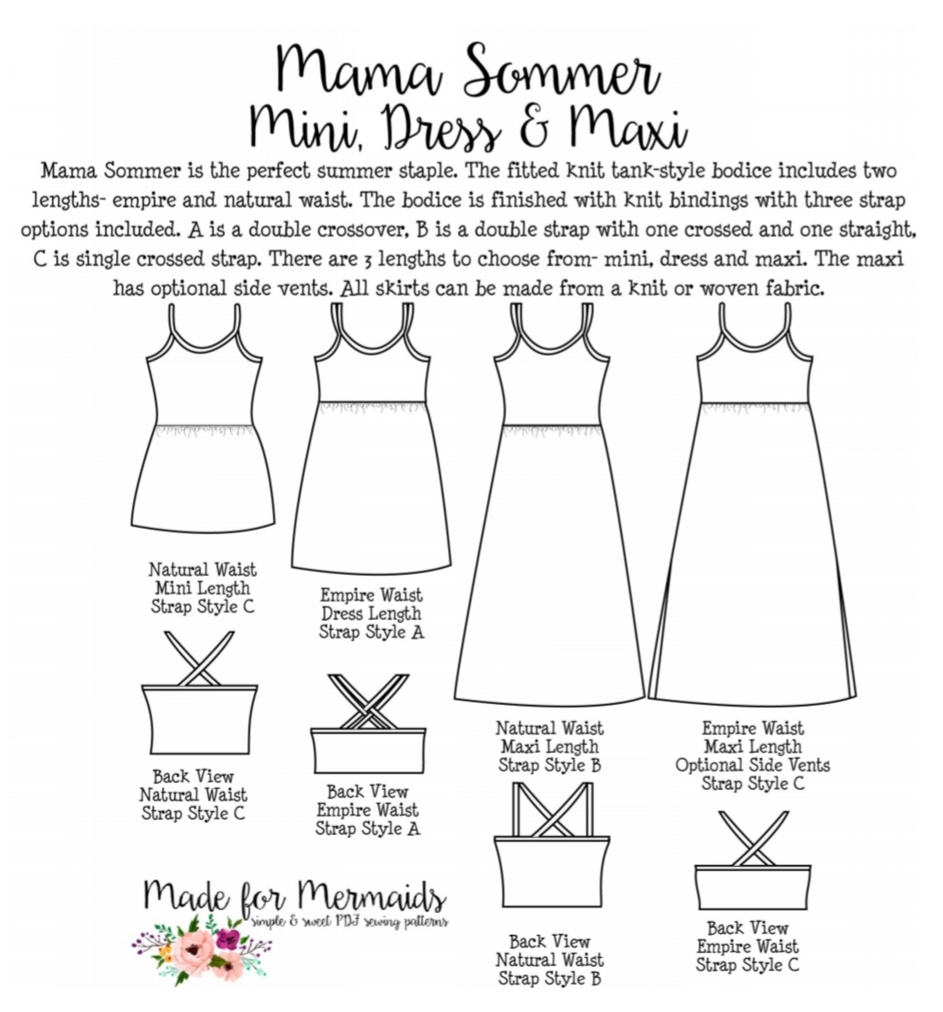 the line drawings of the mama sommer mini, dress, and maxi from made for mermaids. The garment is a fitted knit tank-style bodice with empire or natural waist, three strap options, and multiple lengths.